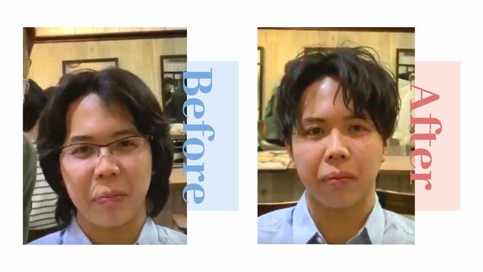 髪型による変化