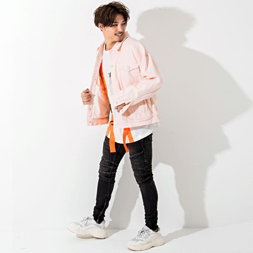 ダメージ加工カラーデニムビッグジャケット