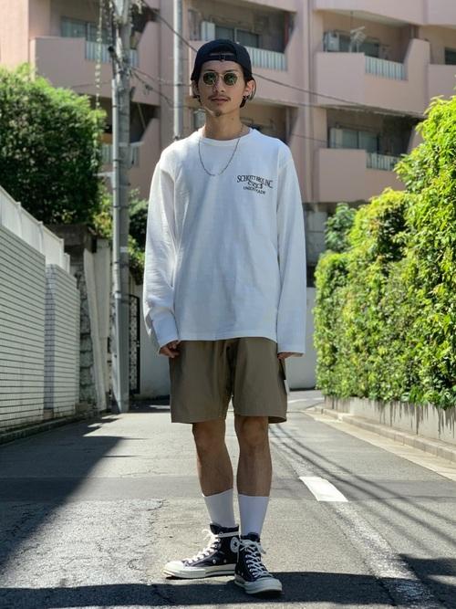 夏の長袖:ロンTコーデ